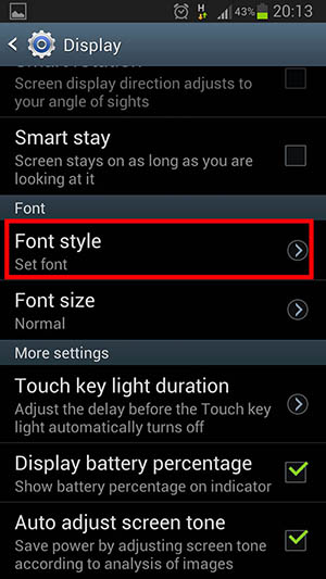 installing font Khmer on Android Phone select font style