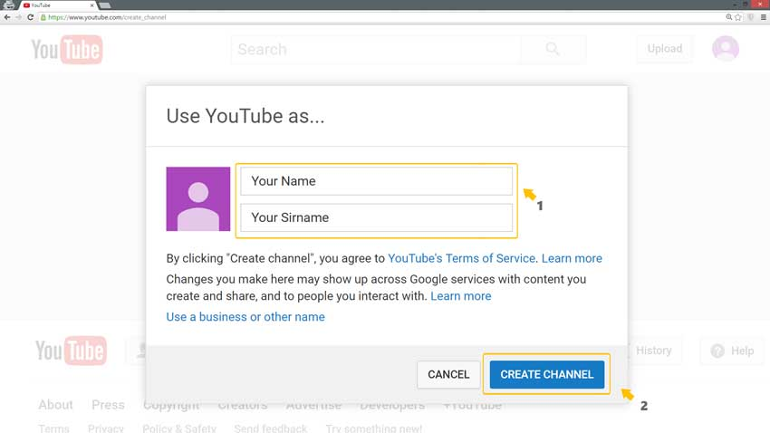 Create YouTube channel step 2