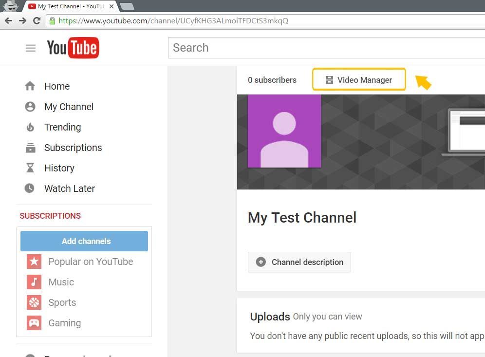 Verify your YouTube channel step 1