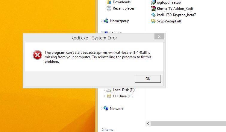 installing kodi error