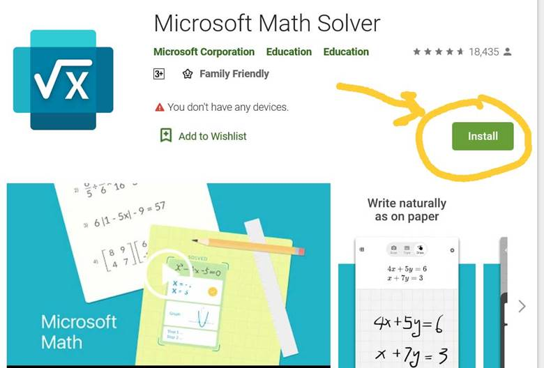 You can install Microsoft Math Solver app on your Android phone via your computer.
